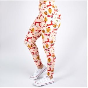 New Mix brand Christmas pink red leggings one size